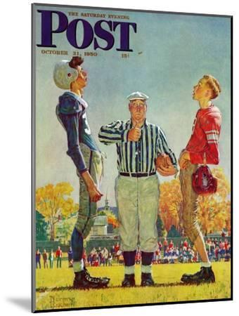 """""""Coin Toss"""" Saturday Evening Post Cover, October 21,1950-Norman Rockwell-Mounted Premium Giclee Print"""