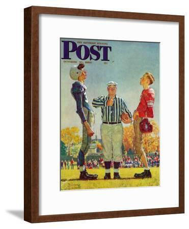 """""""Coin Toss"""" Saturday Evening Post Cover, October 21,1950-Norman Rockwell-Framed Premium Giclee Print"""