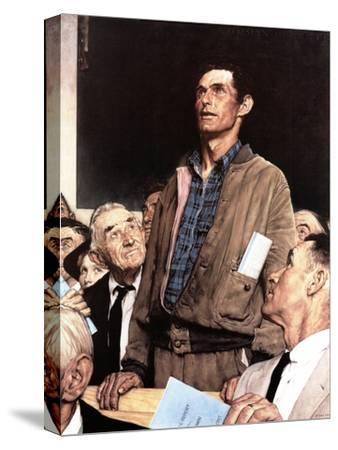 """""""Freedom Of Speech"""", February 21,1943-Norman Rockwell-Stretched Canvas Print"""