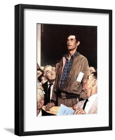 """Freedom Of Speech"", February 21,1943-Norman Rockwell-Framed Premium Giclee Print"