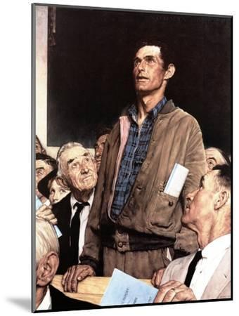 """""""Freedom Of Speech"""", February 21,1943-Norman Rockwell-Mounted Premium Giclee Print"""