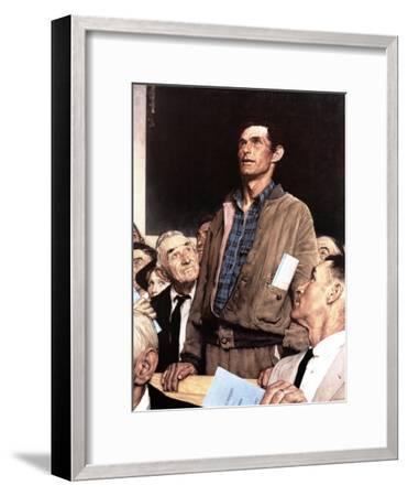 """Freedom Of Speech"", February 21,1943-Norman Rockwell-Framed Giclee Print"