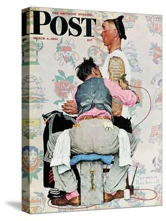 """""""Tattoo Artist"""" Saturday Evening Post Cover, March 4,1944-Norman Rockwell-Stretched Canvas Print"""