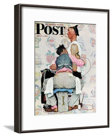 """""""Tattoo Artist"""" Saturday Evening Post Cover, March 4,1944-Norman Rockwell-Framed Giclee Print"""