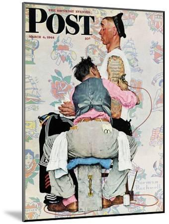 """""""Tattoo Artist"""" Saturday Evening Post Cover, March 4,1944-Norman Rockwell-Mounted Giclee Print"""