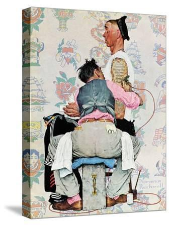 """""""Tattoo Artist"""", March 4,1944-Norman Rockwell-Stretched Canvas Print"""