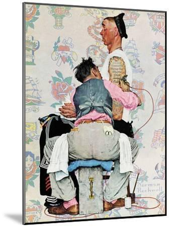 """""""Tattoo Artist"""", March 4,1944-Norman Rockwell-Mounted Premium Giclee Print"""