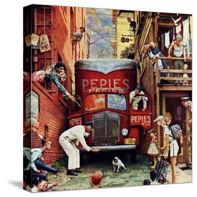 """""""Road Block"""", July 9,1949-Norman Rockwell-Stretched Canvas Print"""