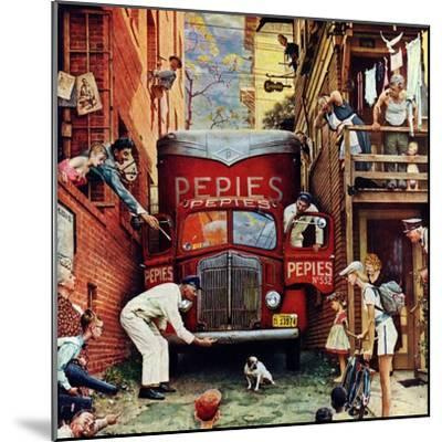 """""""Road Block"""", July 9,1949-Norman Rockwell-Mounted Giclee Print"""