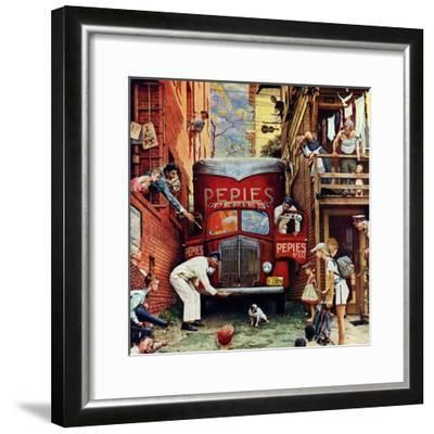"""""""Road Block"""", July 9,1949-Norman Rockwell-Framed Giclee Print"""