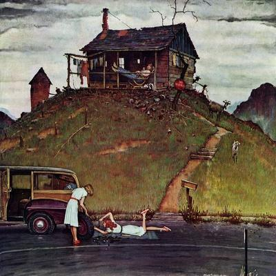 """Changing a Flat"", August 3,1946-Norman Rockwell-Giclee Print"