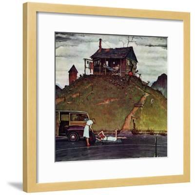 """Changing a Flat"", August 3,1946-Norman Rockwell-Framed Giclee Print"