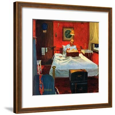 """""""Solitaire"""", August 19,1950-Norman Rockwell-Framed Giclee Print"""