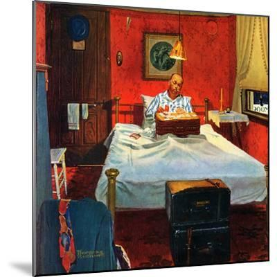"""""""Solitaire"""", August 19,1950-Norman Rockwell-Mounted Giclee Print"""