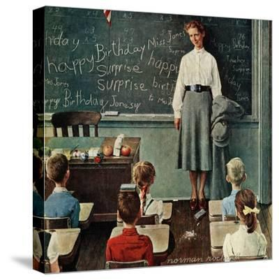 """""""Happy Birthday, Miss Jones"""", March 17,1956-Norman Rockwell-Stretched Canvas Print"""