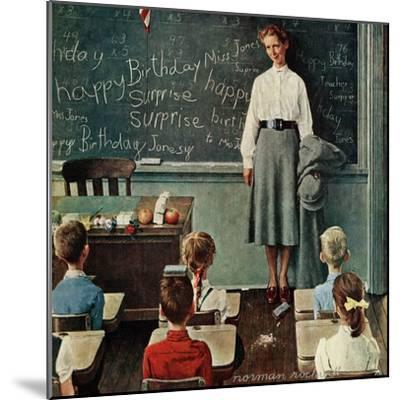 """Happy Birthday, Miss Jones"", March 17,1956-Norman Rockwell-Mounted Premium Giclee Print"