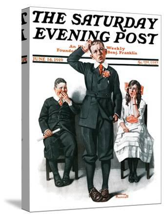 """""""Recitation"""" Saturday Evening Post Cover, June 14,1919-Norman Rockwell-Stretched Canvas Print"""