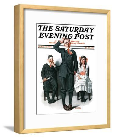 """""""Recitation"""" Saturday Evening Post Cover, June 14,1919-Norman Rockwell-Framed Giclee Print"""