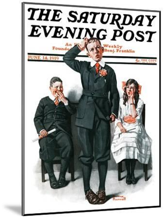 """""""Recitation"""" Saturday Evening Post Cover, June 14,1919-Norman Rockwell-Mounted Giclee Print"""