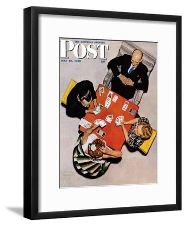 """Bridge Game"" or ""Playing Cards"" Saturday Evening Post Cover, May 15,1948-Norman Rockwell-Framed Giclee Print"