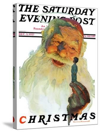 """Christmas, 1927"" (King Kong Santa) Saturday Evening Post Cover, December 3,1927-Norman Rockwell-Stretched Canvas Print"