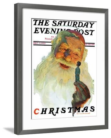 """Christmas, 1927"" (King Kong Santa) Saturday Evening Post Cover, December 3,1927-Norman Rockwell-Framed Giclee Print"