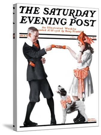 """""""Playing Party Games"""" Saturday Evening Post Cover, April 26,1919-Norman Rockwell-Stretched Canvas Print"""