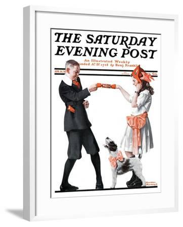 """""""Playing Party Games"""" Saturday Evening Post Cover, April 26,1919-Norman Rockwell-Framed Giclee Print"""