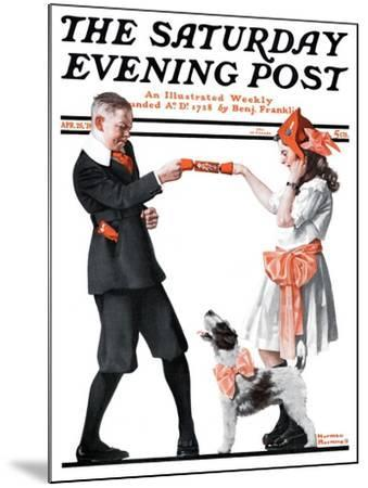 """""""Playing Party Games"""" Saturday Evening Post Cover, April 26,1919-Norman Rockwell-Mounted Giclee Print"""