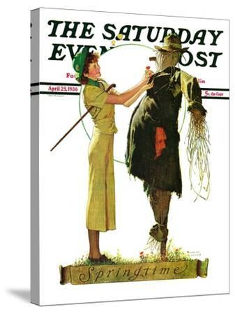 """""""Springtime, 1936"""" Saturday Evening Post Cover, April 25,1936-Norman Rockwell-Stretched Canvas Print"""