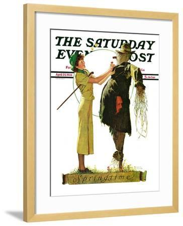 """""""Springtime, 1936"""" Saturday Evening Post Cover, April 25,1936-Norman Rockwell-Framed Giclee Print"""
