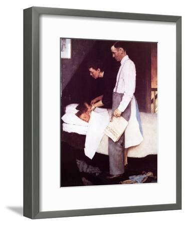 """""""Freedom From Fear"""", March 13,1943-Norman Rockwell-Framed Giclee Print"""