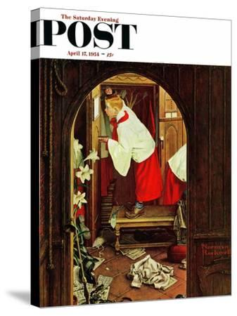 """Choirboy"" Saturday Evening Post Cover, April 17,1954-Norman Rockwell-Stretched Canvas Print"