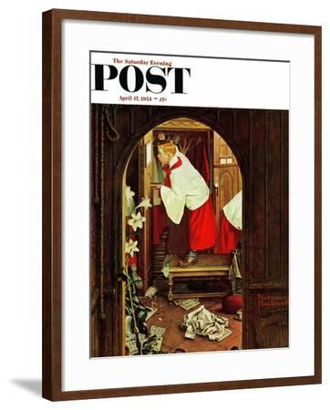 """Choirboy"" Saturday Evening Post Cover, April 17,1954-Norman Rockwell-Framed Giclee Print"