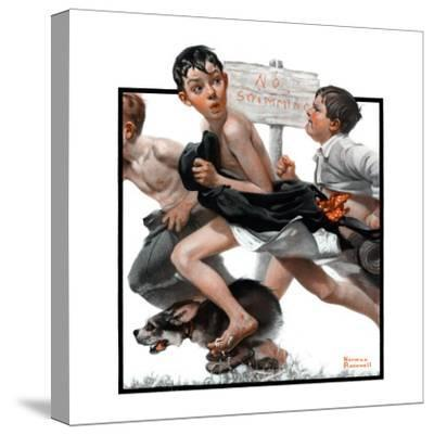 """""""No Swimming"""", June 4,1921-Norman Rockwell-Stretched Canvas Print"""