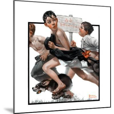 """""""No Swimming"""", June 4,1921-Norman Rockwell-Mounted Premium Giclee Print"""