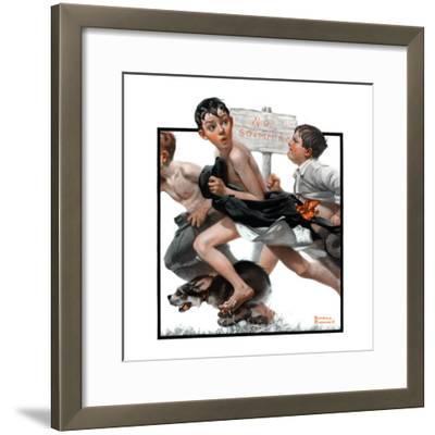 """No Swimming"", June 4,1921-Norman Rockwell-Framed Premium Giclee Print"