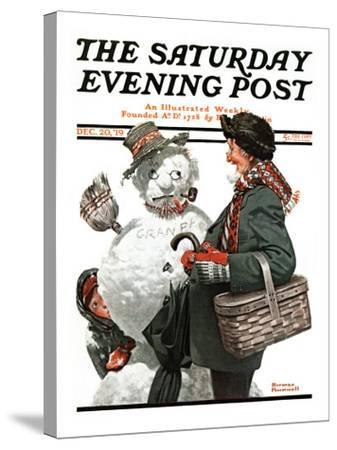"""""""Gramps and the Snowman"""" Saturday Evening Post Cover, December 20,1919-Norman Rockwell-Stretched Canvas Print"""