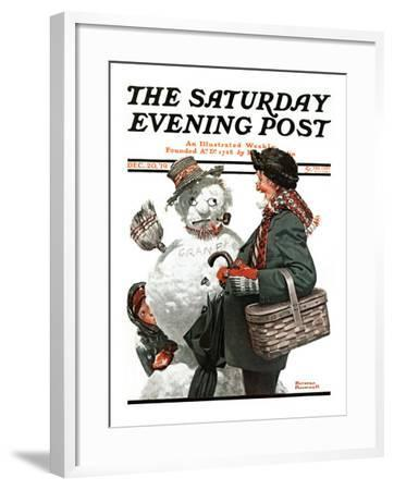 """""""Gramps and the Snowman"""" Saturday Evening Post Cover, December 20,1919-Norman Rockwell-Framed Giclee Print"""