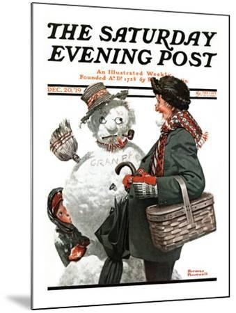 """""""Gramps and the Snowman"""" Saturday Evening Post Cover, December 20,1919-Norman Rockwell-Mounted Giclee Print"""