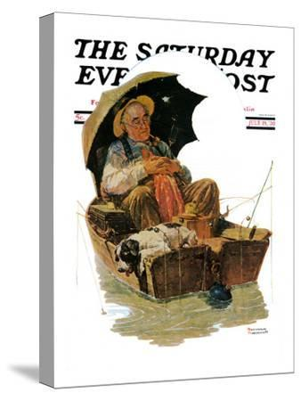 """Gone Fishing"" Saturday Evening Post Cover, July 19,1930-Norman Rockwell-Stretched Canvas Print"