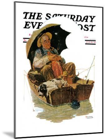 """Gone Fishing"" Saturday Evening Post Cover, July 19,1930-Norman Rockwell-Mounted Giclee Print"