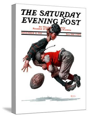"""""""Fumble"""" or """"Tackled"""" Saturday Evening Post Cover, November 21,1925-Norman Rockwell-Stretched Canvas Print"""