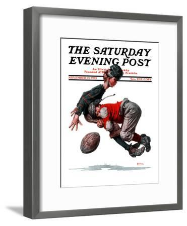 """""""Fumble"""" or """"Tackled"""" Saturday Evening Post Cover, November 21,1925-Norman Rockwell-Framed Premium Giclee Print"""