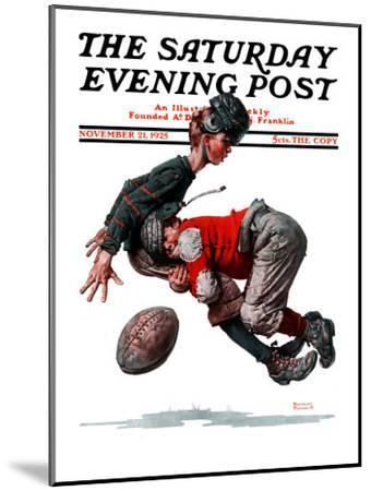 """""""Fumble"""" or """"Tackled"""" Saturday Evening Post Cover, November 21,1925-Norman Rockwell-Mounted Premium Giclee Print"""