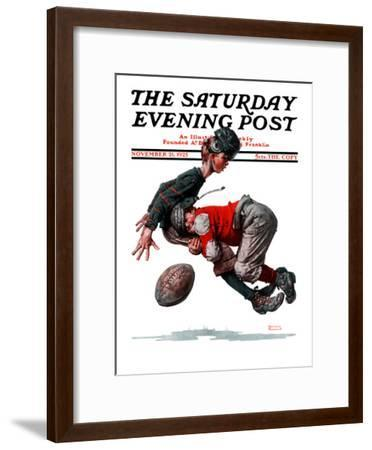 """""""Fumble"""" or """"Tackled"""" Saturday Evening Post Cover, November 21,1925-Norman Rockwell-Framed Giclee Print"""
