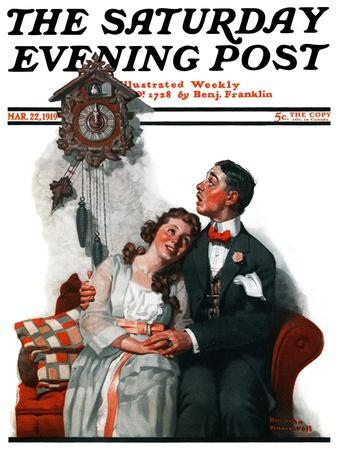"""""""Courting under the Clock at Midnight"""" Saturday Evening Post Cover, March 22,1919-Norman Rockwell-Framed Giclee Print"""