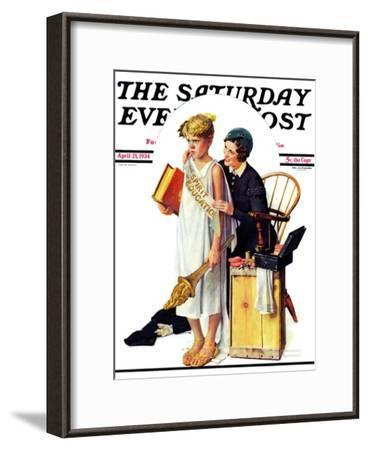 """""""Spirit of Education"""" Saturday Evening Post Cover, April 21,1934-Norman Rockwell-Framed Giclee Print"""