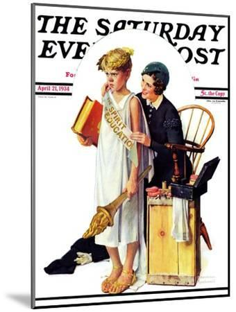 """""""Spirit of Education"""" Saturday Evening Post Cover, April 21,1934-Norman Rockwell-Mounted Giclee Print"""