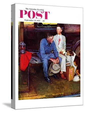 """Breaking Home Ties"" Saturday Evening Post Cover, September 25,1954-Norman Rockwell-Stretched Canvas Print"